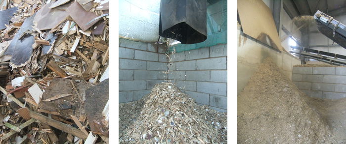 the waste wood process to produce biomass fuel
